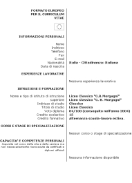 Come Compilare Un Curriculum Vitae Modello Europeo